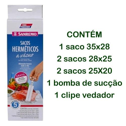 Kit Sacos a Vácuo Para Alimentos  Sanremo - Com 5 Unidades e Bomba de Sucção