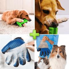 Kit Pet (Mordedor e Escova de Dentes Para Cães Antiestresse - Pet Brush + Luva para Remover Pelos Soltos de Animais de Estimação - True Touch)
